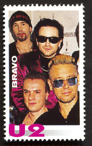 U2 on a vintage postage stamp by Bravo from early 1980s